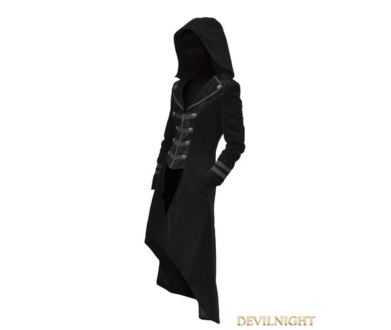 Black Velvet Gothic Hooded Long Coat For Women 97969