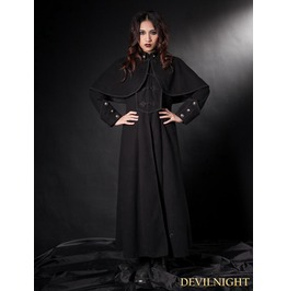 Black Gothic Long Coat With Cape For Women