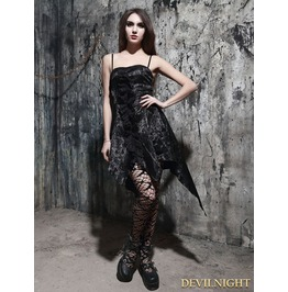 Fashion Black Pattern Gothic Dress With Irregular Skirt