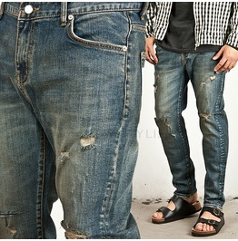 Vintage Disressed Washing Straight Jeans 152