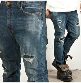 Distressed Neat Wash Straight Denim Jeans 153