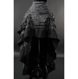 Black White Antique Writing Long Victorian Gothic Bustle Layer Pirate Skirt