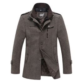 Men's 3 Gray/Brown Wool Blend Coat