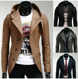 Winter Mens Hooded Single Breasted Overcoat Trench Slim Fit Coats