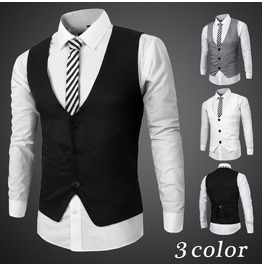 Men's Black/Gray/White Casual Winter Vests