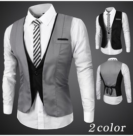 Men's Black/Gray Casual Vests