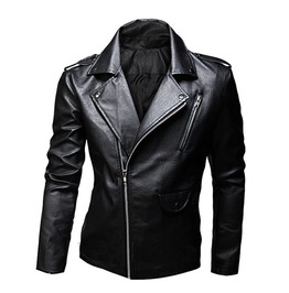 Men's Black/Brown Pu Leather Cool Winter Jacket