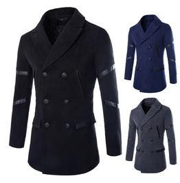 Men's Black/Blue/Gray Long Coat