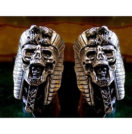 Pharoah Skull Cufflinks Sterling Silver
