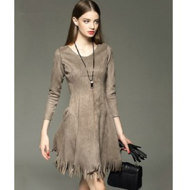 Long Sleeves Tassel Slim Waist Short Dress