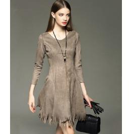 Long Sleeves Tassel Slim Waist Short Dress