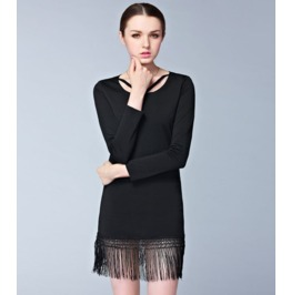 Long Sleeves Tassel Strap Neck Slim Short Dress