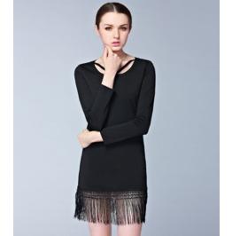 Long Sleeves Tassel Strap Neck Slim Short Dress