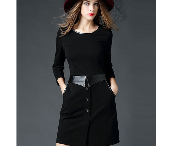 stylish_leather_belt_trim_neckline_short_black_dress_dresses_6.png