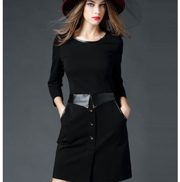 Stylish Leather Belt Trim Neckline Short Black Dress