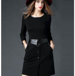Stylish Leather Belt Trim Neckline Short Black Dress
