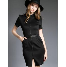 Front Zipper Side Pocket Slim Black Dress