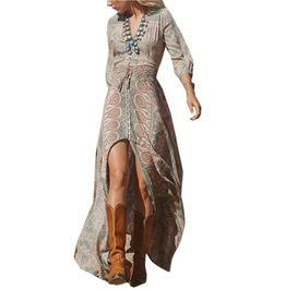 Vintage Bohemian Women Floral Print Split Long Dress