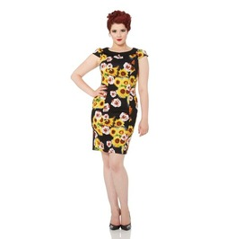 Voodoo Vixen Nahla Black Sunflowers Pencil Dress
