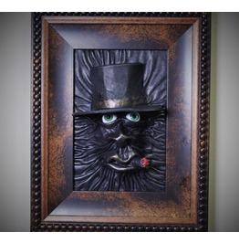 3 D Leather Wall Art Decor. Horror Leather Face Framed Picture. Ooak Leather
