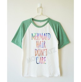 Galaxy Mermaid Hair Don't Care Mermaid Baseball Tee Short Women Men Shirt