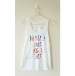 Galaxy Mermaid Hair Don't Care Mermaid Top Racer Back Women Tank Women Shirt