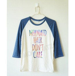 Galaxy Mermaid Hair Don't Care Mermaid Shirt Baseball Long Women Men Shirt