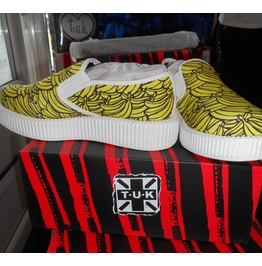 Tuk Viva Flatforms Slip On Creepers, Banana Print
