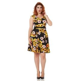 Voodoo Vixen Bianca Retro Flare Sunflowers Dress