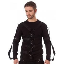 Bondage Strap And D Ring Black Long Sleeved Punk Shirt $9 Shipping