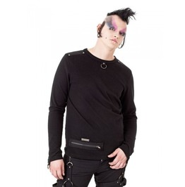 Gothic Industrial Long Sleeved Shirt Zip Detail, Rivets & D Ring $9 Ship