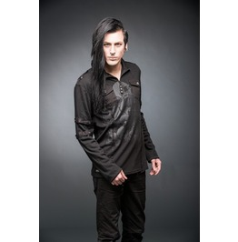 Gothic Punk Printed Long Sleeved Polo Shirt Up To Size 4 Xl $9 Shipping