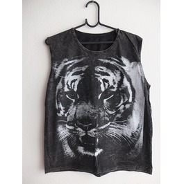 Tiger Animal Stone Wash Vest Tank Top M