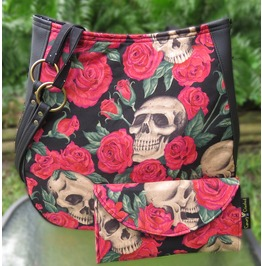 Skull Bed Roses Shoulder Charla Purse With Wallet