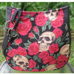 Skulls In A Bed Of Red Roses Shoulder Charla Purse