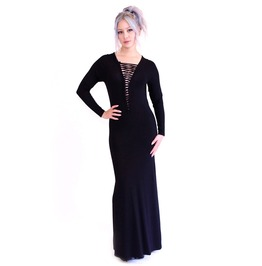 Lace Up Front Maxi Dress