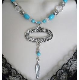 Bohemian Feather Necklace, Boho Gypsy Hippie Ethnic Moroccan Tribal