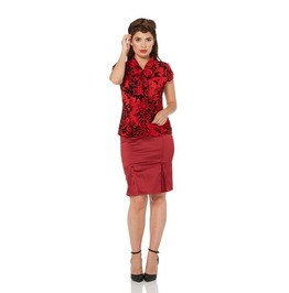 Voodoo Vixen Ava Red Pussy Bow Floral Flock Top