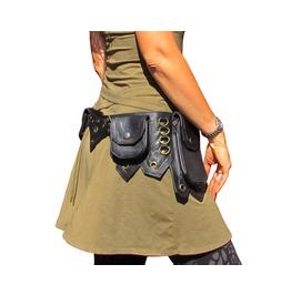 One Leaf Black Leather Belt Waist Pack With 5 Pockets Hip Belt Waist Pack