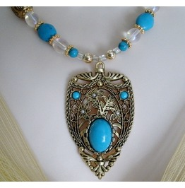 Moroccan Blue Necklace, Boho Bohemian Gypsy Tribal Turquoise New Age