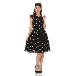 Voodoo Vixen Bernadette Snowflake Black Flare Dress