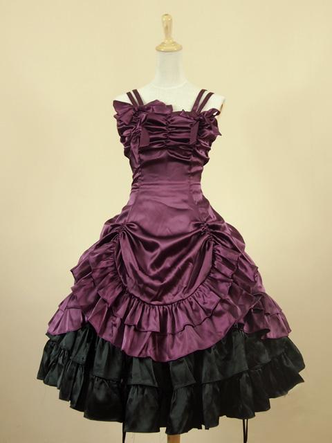 Purple short gothic lolita dress dresses 3