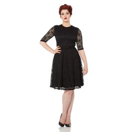 Voodoo Vixen Marie Black Lace Belted Skater Dress