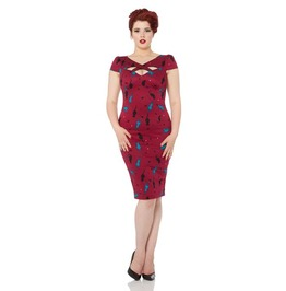 Voodoo Vixen Dana Cat Print Cutaway Wiggle Dress