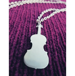 Violin Silhouette Pendant Necklace