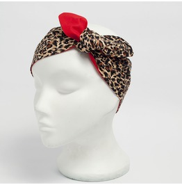 Leopard Print Fabric Head Scarf Red Reverse