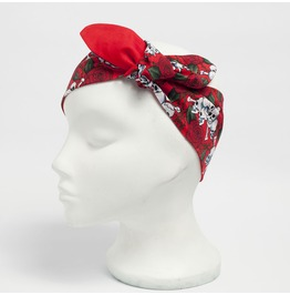 Red Skulls With Roses Print Head Scarf