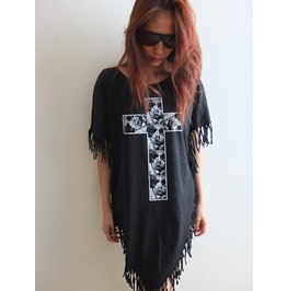 Cross Roses Goth Punk Hippie Batwing Tussle Fringes Stone Wash Poncho Dres