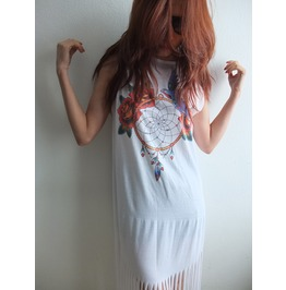 Dream Catcher Punk Hippie Batwing Tussle Fringes Poncho Dress