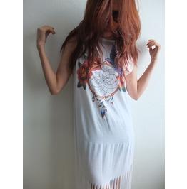 Dream Catcher Punk Hippie Batwing Tussle Fringes Poncho Dress